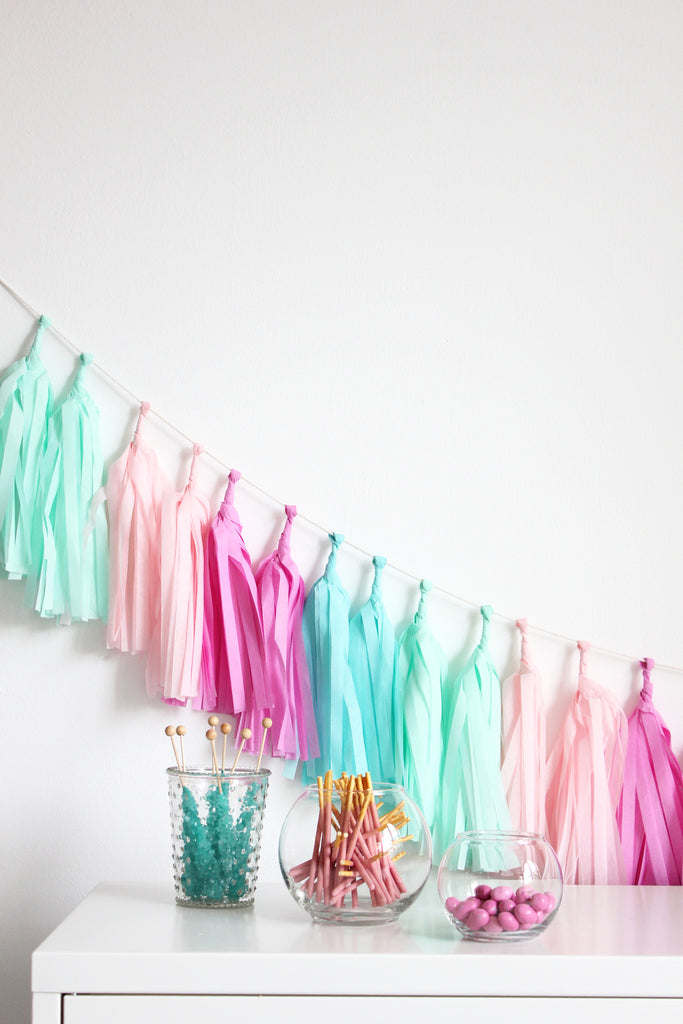 tissue paper tassel garland kit - candy shoppe