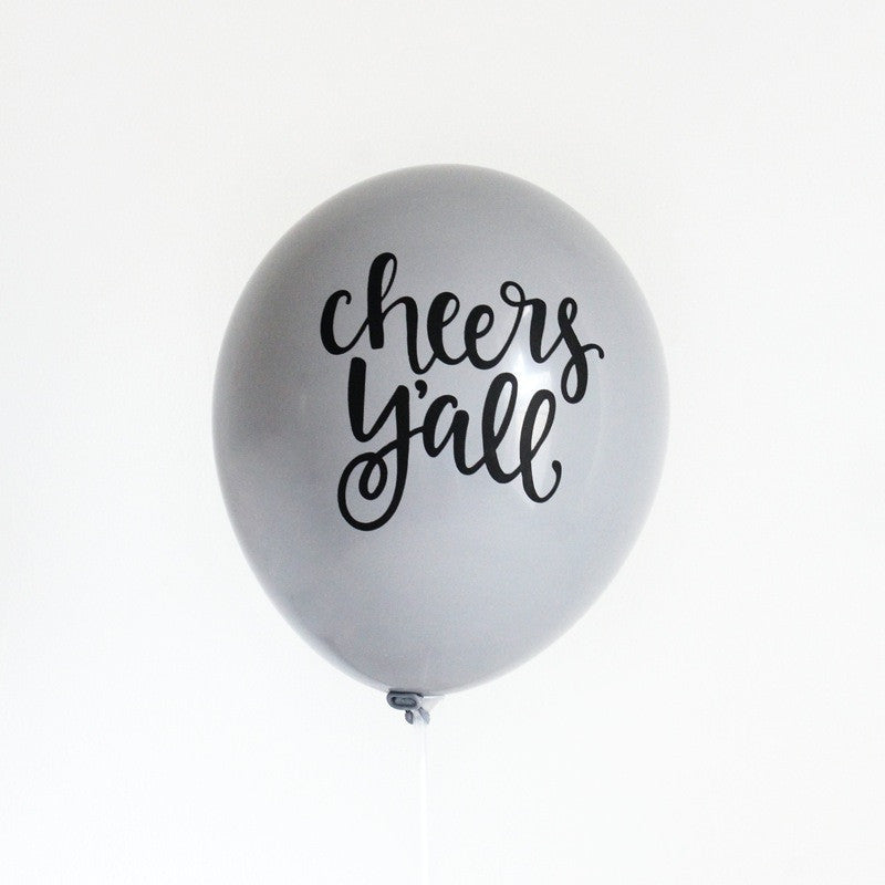 """cheers y'all"" hand lettered balloons (set of 3)"