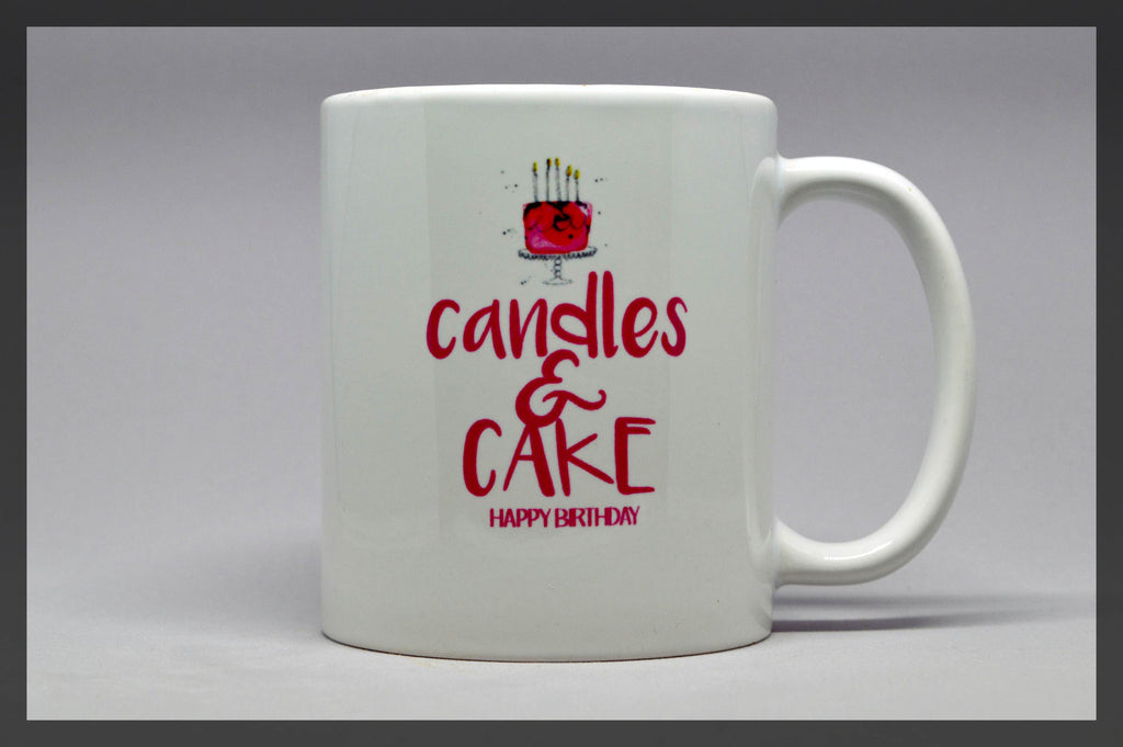 candles & cake birthday mug