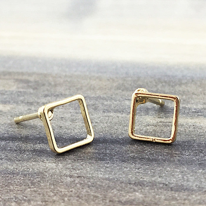 open square earrings