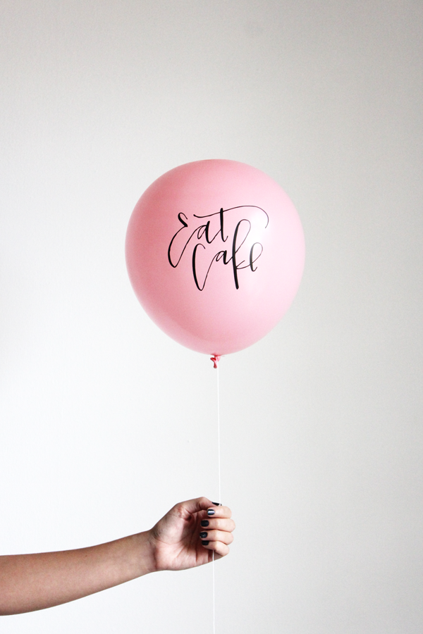 """eat cake"" calligraphy balloons (set of 3)"