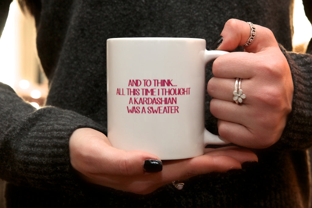 kardashian sweater quote mug