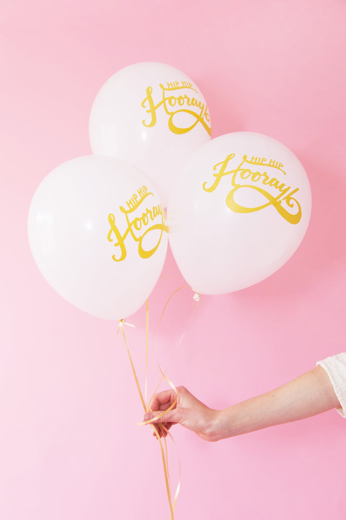 """hip hip hooray"" balloons (set of 3)"
