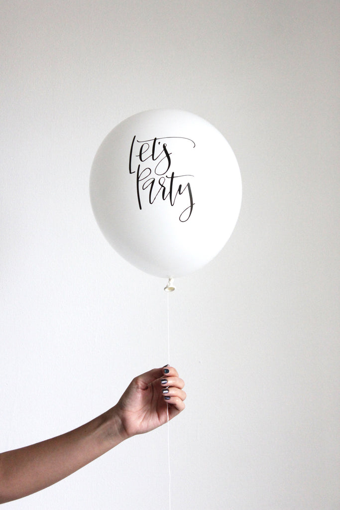 """let's party"" calligraphy balloons (set of 3)"