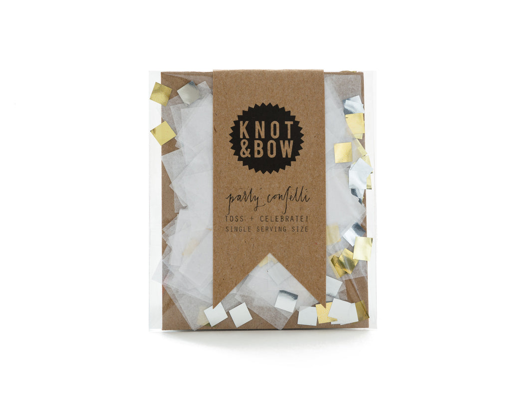 party mix confetti white metallic