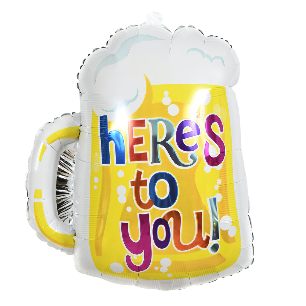 "19"" here's to you beer mug balloon"