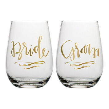 20oz bride & groom stemless wine glass