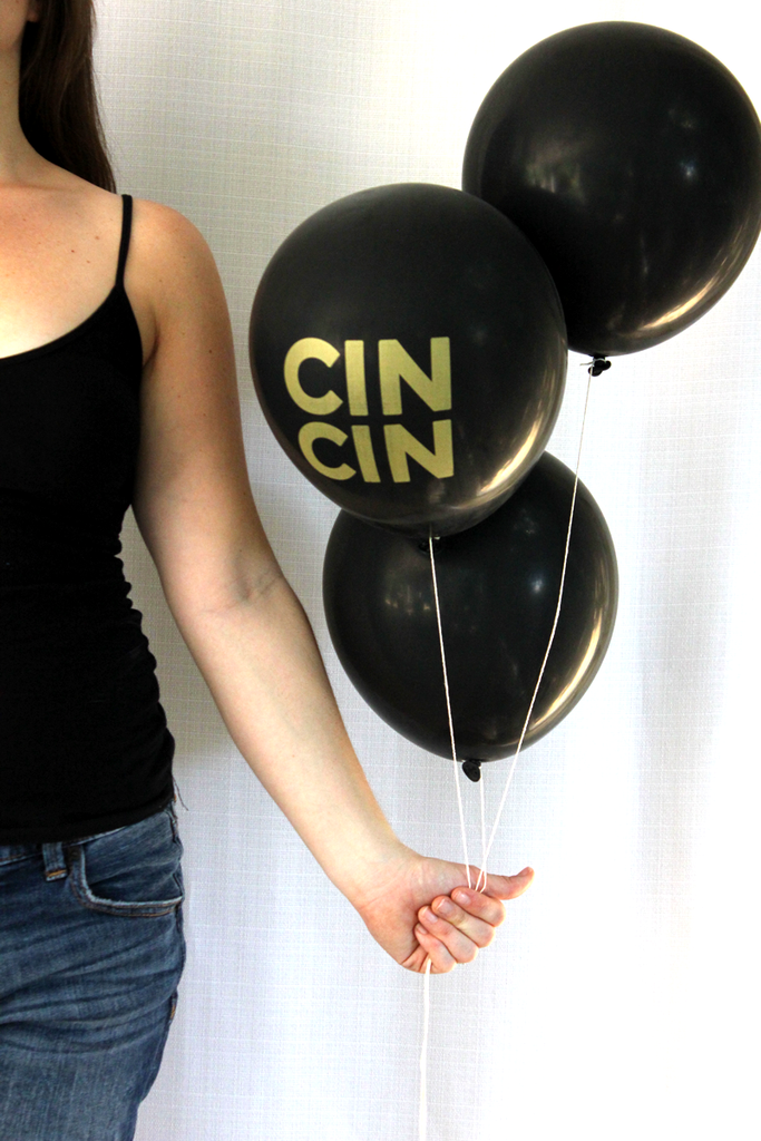 """cin cin"" black & gold balloons (set of 3)"