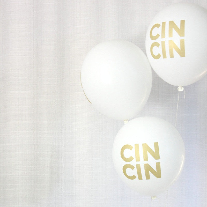 """cin cin"" white & gold balloons (set of 3)"
