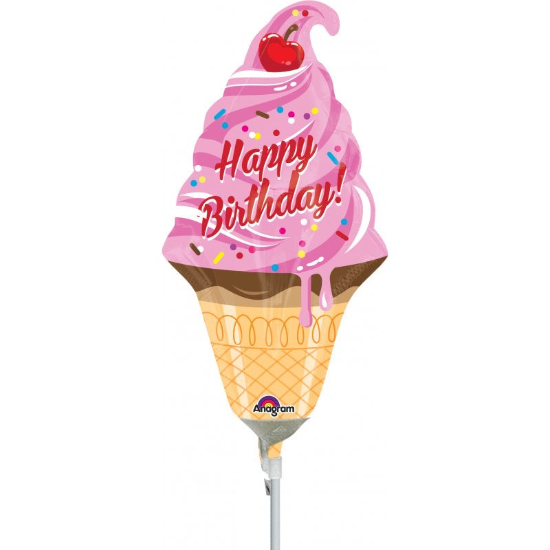 "14"" mini HBD ice cream cone balloon"