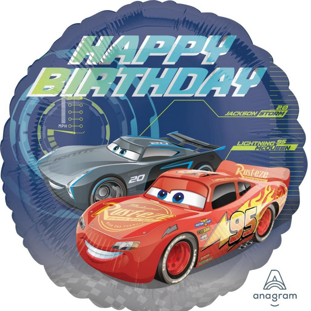 "18"" cars happy birthday balloon"