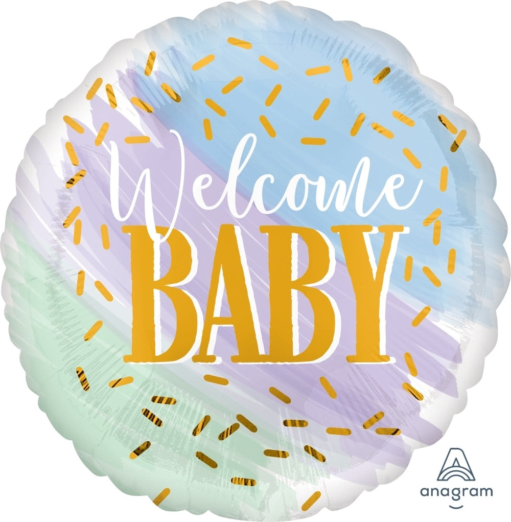 "18"" watercolour ""welcome baby"" balloon"