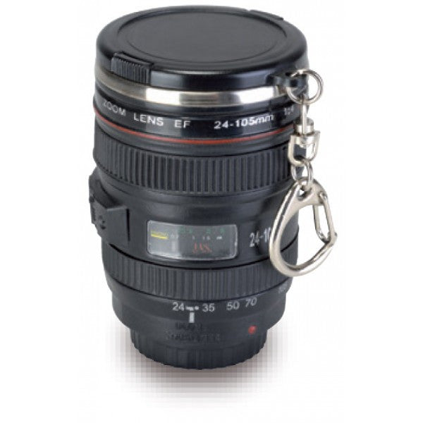 camera lens keychain travel shot glass with lid