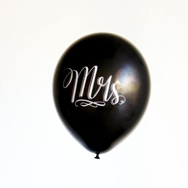 """mr"" & ""mrs"" chalk lettered balloons (set of 4)"