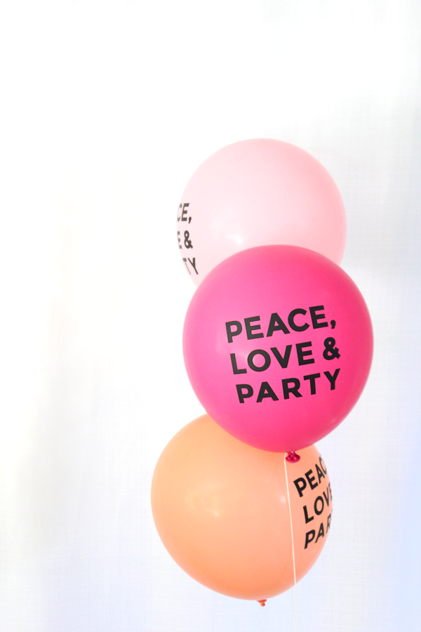 """peace love & party"" hand lettered balloons (set of 3)"