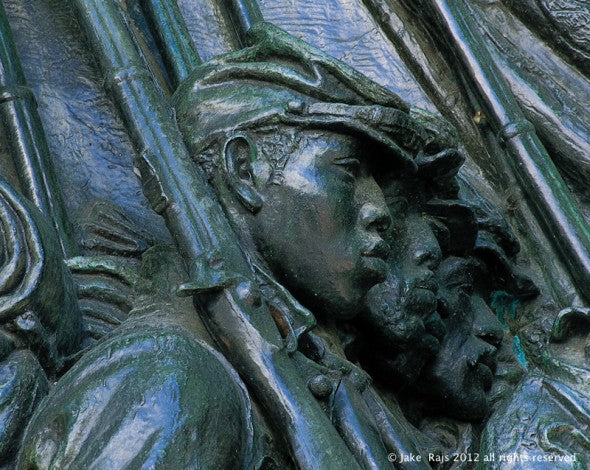 Monument to Colonel Robert Gould Shaw, the commander of the first Massachusetts regiment of black men serving in the Civil War, and his regiment, located in Boston, Massachusetts