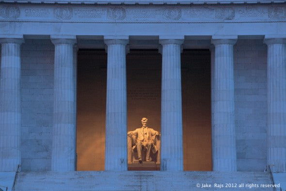 Washington DC, District of Columbia, The Lincoln Memorial, designed by Henry Bacon, stands at the west end of the National Mall as a neoclassical monument