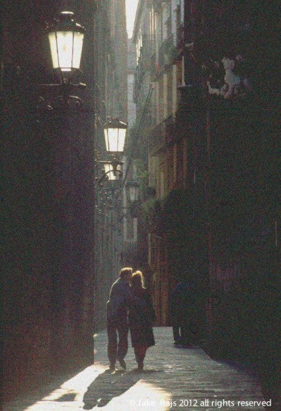 Couple Walking Together, Barcelona, Spain