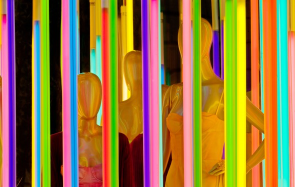 Mannequins with Neon, Louis Vuitton,, 1 East 57th Street, New York City, New York,