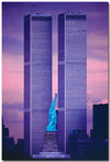 Statue of Liberty Between Twin Towers
