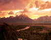 Teton Mountains & Snake River Sunset