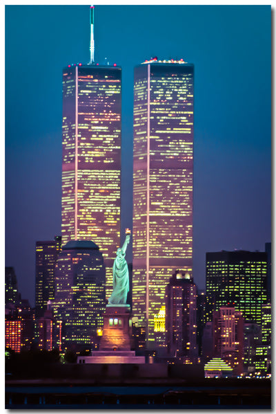Statue of Liberty Between Twin Towers, Twilight