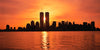 Sunrise Between Twin Towers Wide