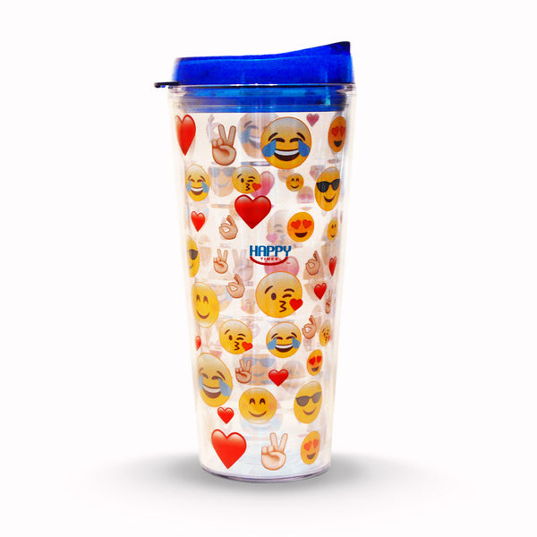 Happy Times Emoji Tumbler with Blue Lid (22 oz.) insulated - Happy Times