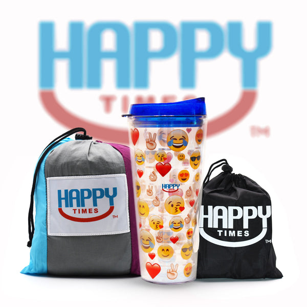 Happy Times Gift Set - Double XL Pac NorthWest Parachute Hammock, Tree Straps & Emoji Tumbler - Happy Times