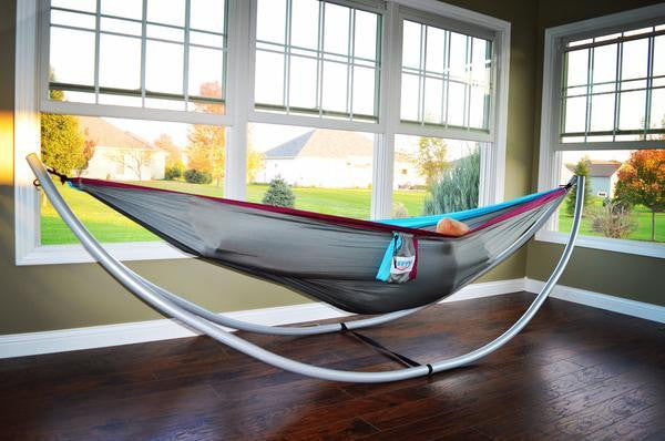 PacNW Double Parachute Hammock - Sky Blue/Steel Gray/Grape Purple