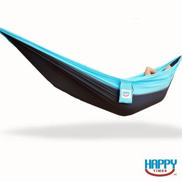 Carolina Single Parachute Hammock - Aqua Blue/Midnight Gray