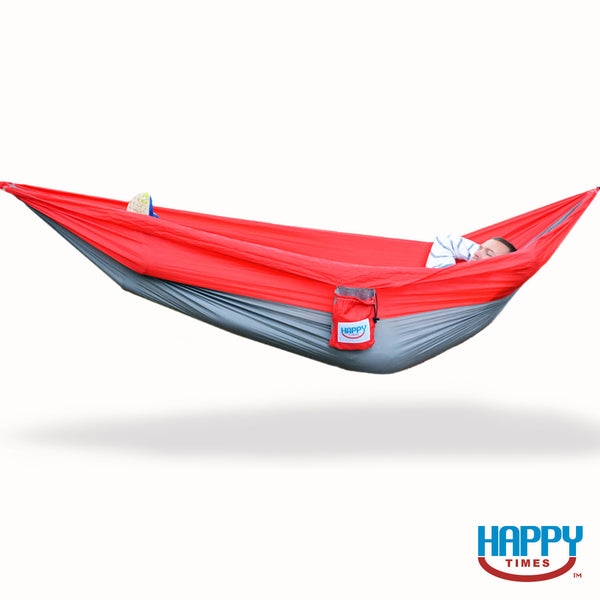 The Ohio Single Parachute Hammock - Scarlet Red/Steel Gray