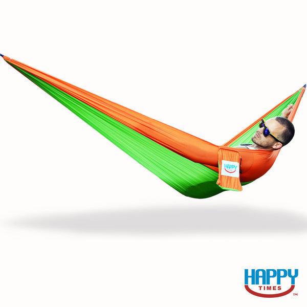 South Beach Single Parachute Hammock - Bright Green/Orange