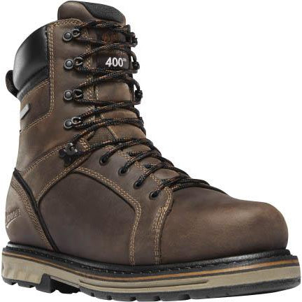 "Danner Men's Steel Yard 8"" Steel Toe Insulated WP Work Boot Brown 12535  - Overlook Boots"