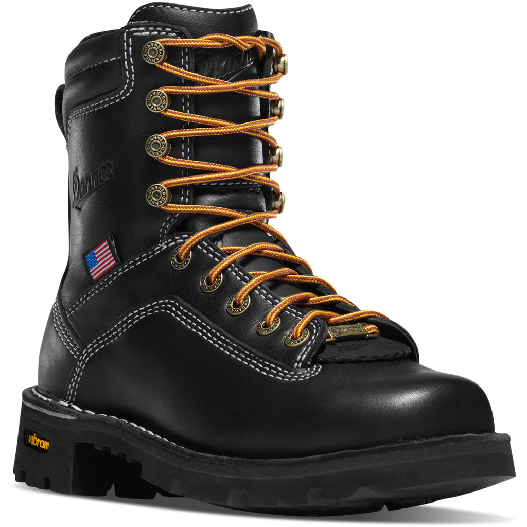 Danner Women's Quarry USA Made Alloy Toe WP Work Boot - Black - 17325 7 / Medium / Black - Overlook Boots