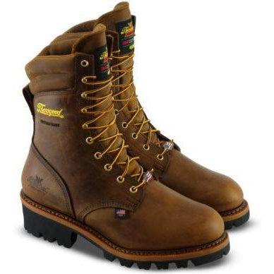 "Thorogood Men's Logger 9"" ST WP Ins USA Work Boot - Brown - 804-3554 8 / Medium / Brown - Overlook Boots"