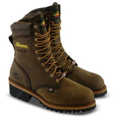 "Thorogood Men's Logger 9"" ST WP USA Made Work Boot - Brown - 804-3555 8 / Medium / Brown - Overlook Boots"