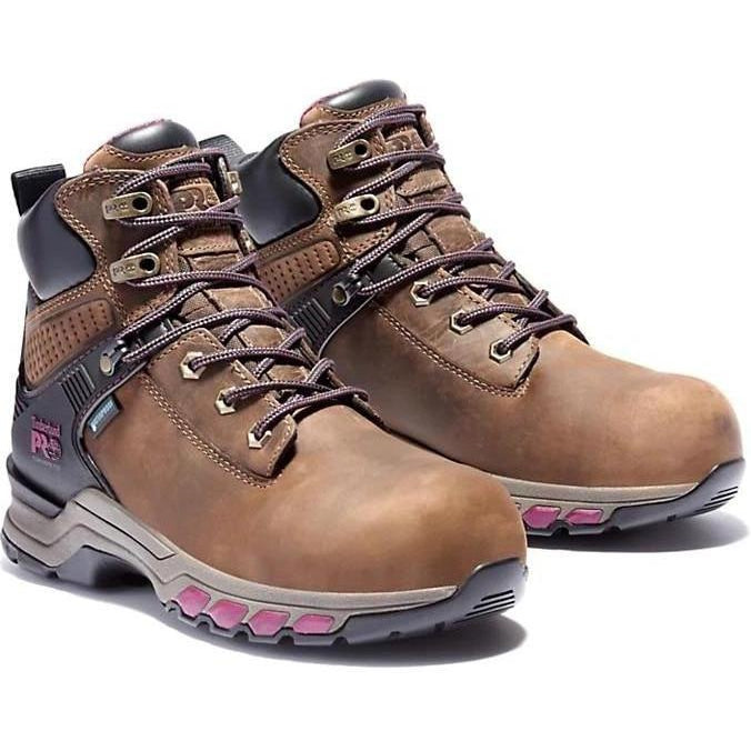 "Timberland Pro Women's Hypercharge 6"" Comp Toe WP Work Boot TB0A24W8214 5.5 / Medium / Brown - Overlook Boots"