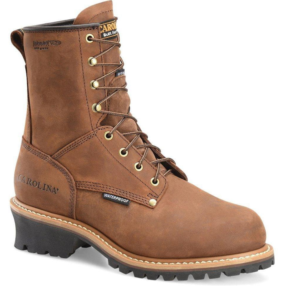 "Carolina Men's Elm 8"" Stl Toe WP INS Logger Work Boot - Brown - CA5821 7 / Medium / Brown - Overlook Boots"