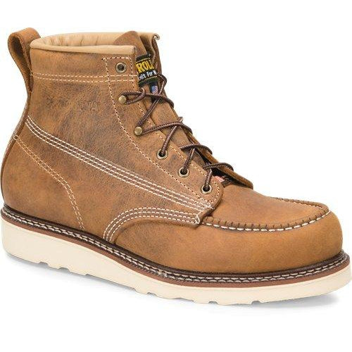 "Carolina Men's AMP USA Made 6"" Moc Toe Wedge Work Boot Brown - CA7011 8 / Medium / Brown - Overlook Boots"