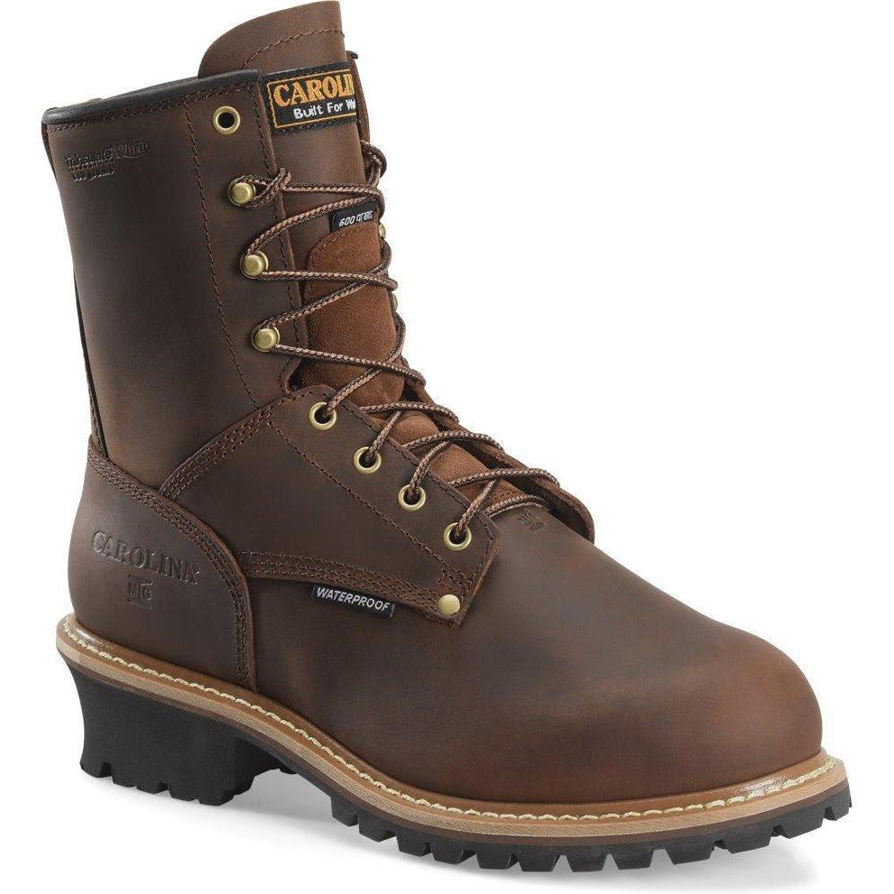 "Carolina Men's Elm 8"" WP Insulated MetGuard Logger Work Boot - CA7821 8 / Medium / Brown - Overlook Boots"