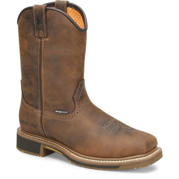 "Carolina Men's Anchor 10"" Comp Square Toe WP Roper Work Boot - CA8036 8 / Medium / Brown - Overlook Boots"