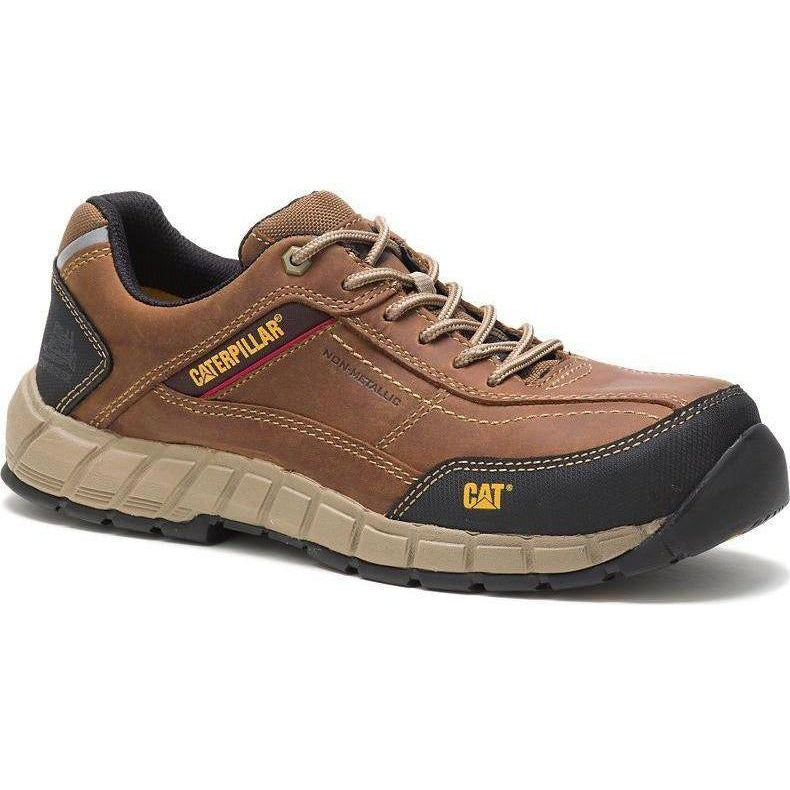 CAT Men's Streamline Leather Comp Toe WP Work Shoe - Brown - P90838 7 / Medium / Brown - Overlook Boots