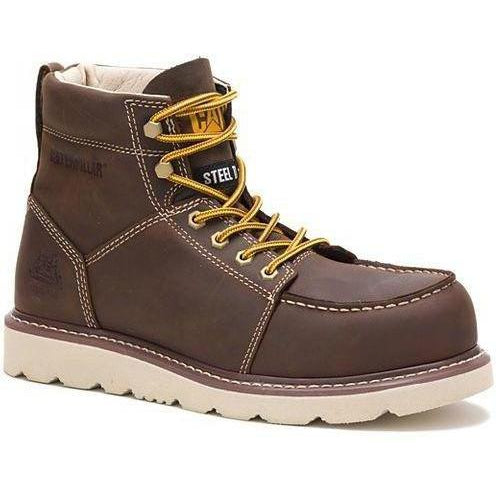 CAT Men's Tradesman Steel Toe WP Wedge Work Boot - Brown - P90888 7 / Medium / Brown - Overlook Boots