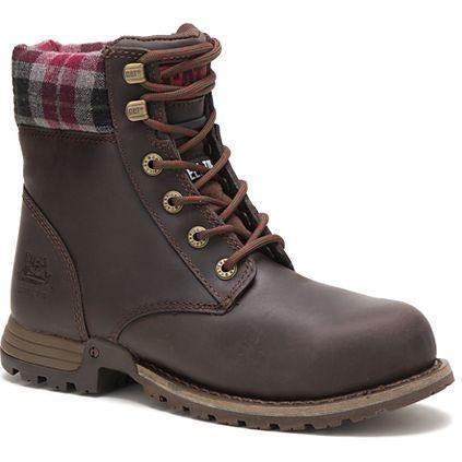 "CAT Women's Kenzie 6"" Steel Toe WP Slip-resistant Work Boot Bark P90394  - Overlook Boots"