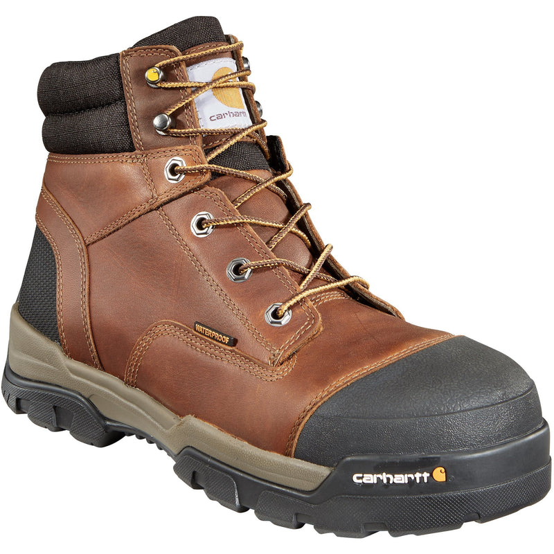 "Carhartt Men's Ground Force 6"" Comp Toe WP Work Boot - Brown - CME6355 8 / Medium / Brown - Overlook Boots"
