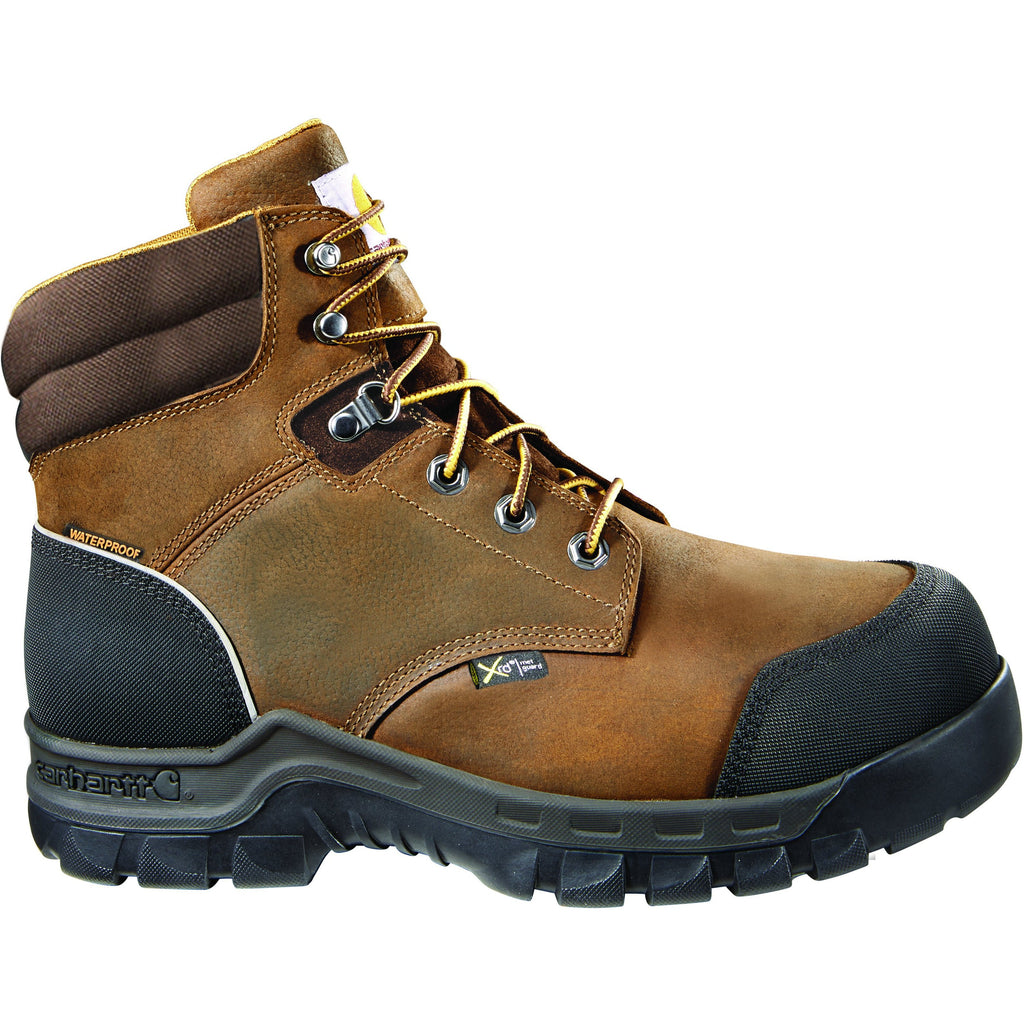 "Carhartt Men's 6"" Comp Toe WP Met Guard Work Boot - Brown - CMF6720 8 / Medium / Brown - Overlook Boots"