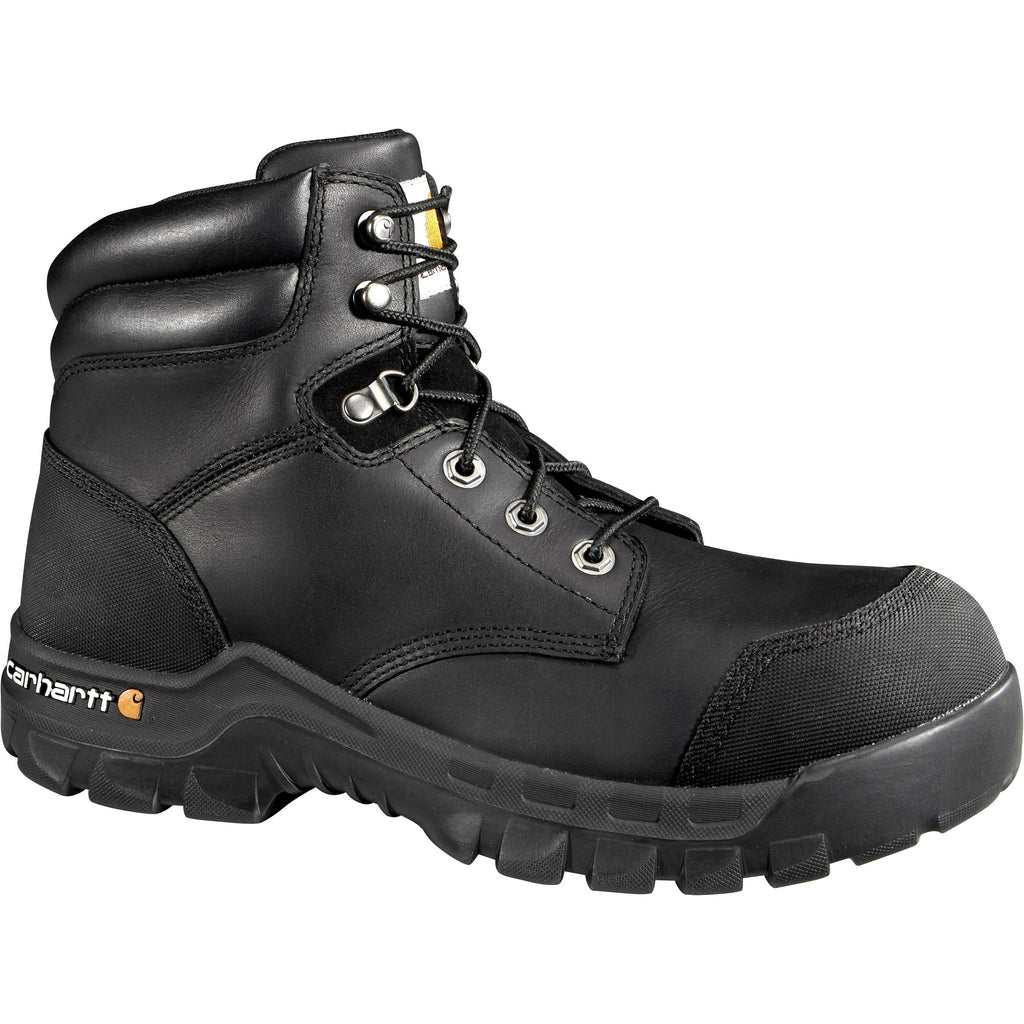 "Carhartt Men's 6"" Rugged Flex Comp Toe WP CSA Work Boot Black CMR6971 8 / Medium / Black - Overlook Boots"