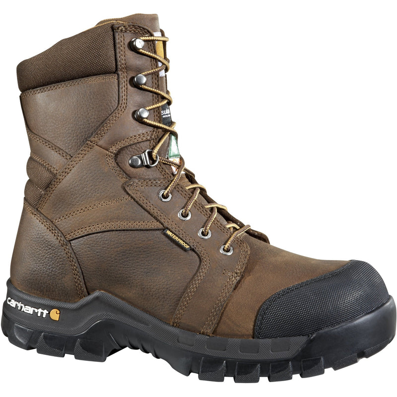 "Carhartt Men's 8"" Rugged Flex Comp Toe WP CSA Work Boot Brown CMR8939 8 / Wide / Brown - Overlook Boots"