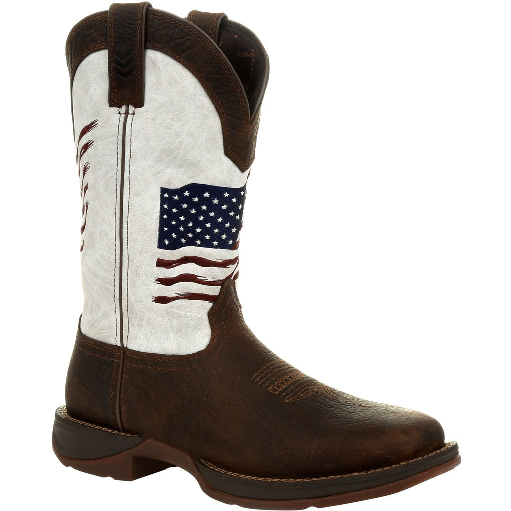 "Durango Women's Lady Rebel Distressed Flag 11"" Square Toe Western Boot DRD0394 6 / Medium / Brown - Overlook Boots"